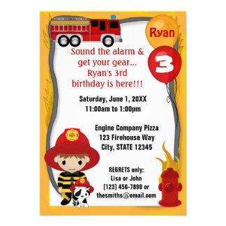 Fire Truck Firefighter Dalmatian Birthday FF01A Custom Invitations