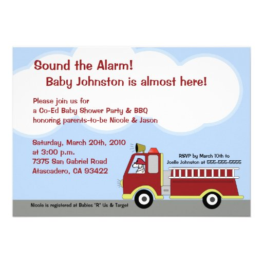 Fire Truck FIremen 5x7 Baby Shower Invitation
