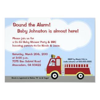 "Fire Truck FIremen 5x7 Baby Shower Invitation 5"" X 7"" Invitation Card"