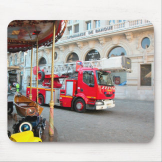 Fire truck in the marketplace mouse pad