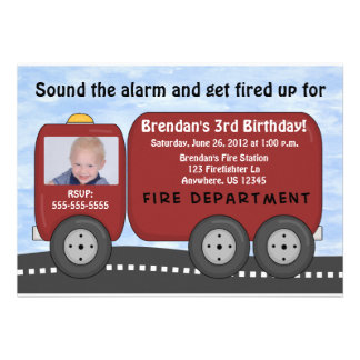 Fire Truck Kids Birthday Invitation