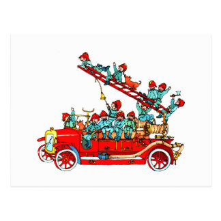 Fire Truck Kids Postcard