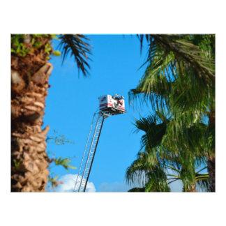 fire truck ladder against sky framed palm trees flyer