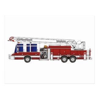 Fire Truck Ladder Postcard