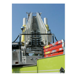 Fire Truck Ladder Postcard