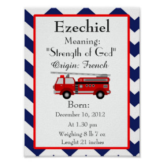 Fire truck name meaning keepsake poster