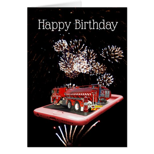 Fire Truck On Speed Dial, Small Birthday Card