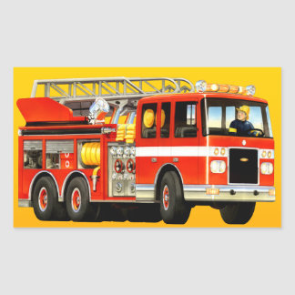 Fire Truck Party Rectangular Sticker