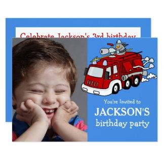 Fire Truck Photo Custom Birthday Invitation, Boy Card