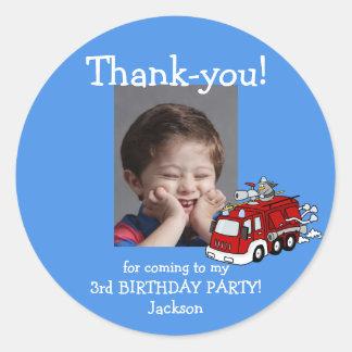 Fire Truck Photo Thank You Birthday Sticker, Boy Classic Round Sticker