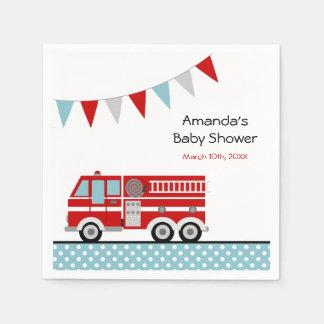 Fire Truck Polka Dot Banner Boy Baby Shower Disposable Serviette