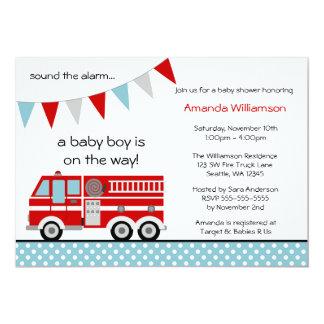 Fire Truck Polka Dot Banner Boy Baby Shower 13 Cm X 18 Cm Invitation Card