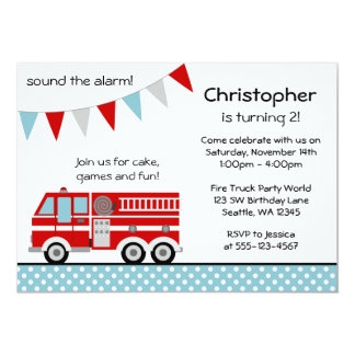 Fire Truck Polka Dot Banner Boy Birthday Party Card