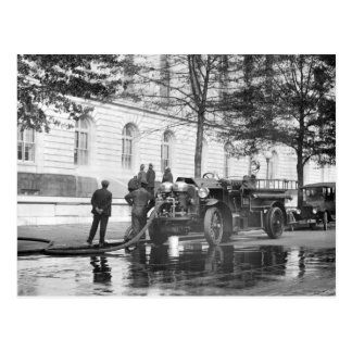 Fire Truck Power Wash, 1923 Postcard