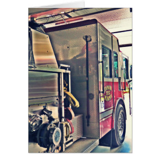 Fire truck, ready greeting card
