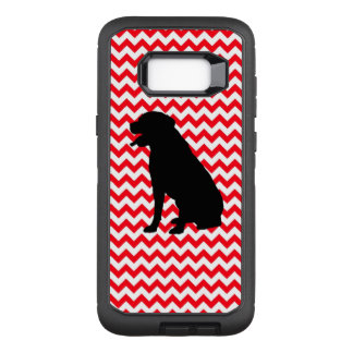 Fire Truck Red Chevron With Lab Silhouette OtterBox Defender Samsung Galaxy S8+ Case