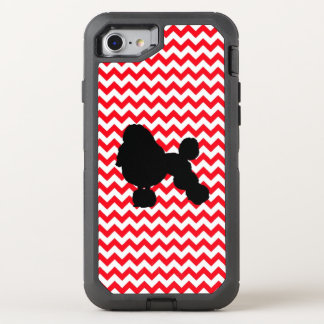 Fire Truck Red Chevron With Poodle Silhouette OtterBox Defender iPhone 8/7 Case