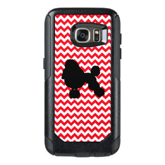 Fire Truck Red Chevron With Poodle Silhouette OtterBox Samsung Galaxy S7 Case