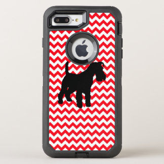 Fire Truck Red Chevron With Schnauzer OtterBox Defender iPhone 8 Plus/7 Plus Case