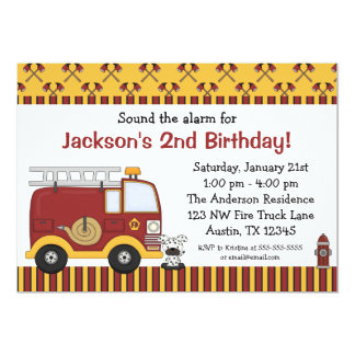 Fire Truck Red Stripes Birthday Party Invitations