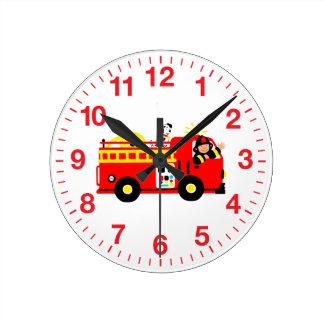 Fire Truck Round Clock