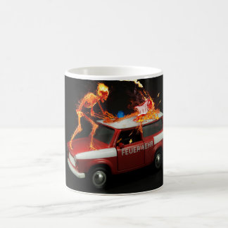 Fire truck skeleton coffee mug