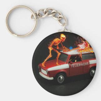 Fire truck skeleton key ring