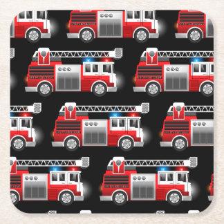 Fire truck square paper coaster