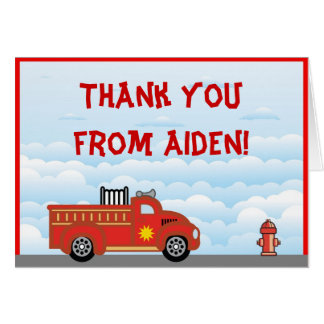 Fire Truck Thank You Note Card