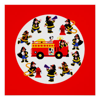 Fire Truck with Busy Firefighters Poster