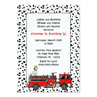 Fire Truck with Dalmation Birthday Party Invite
