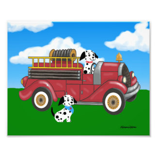 Fire truck with Dalmations print Photograph
