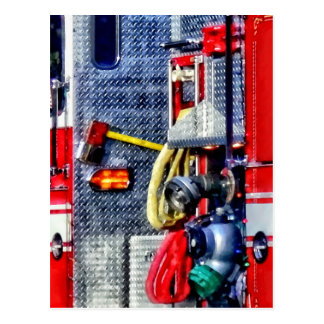 Fire Truck With Hoses and Ax Postcard