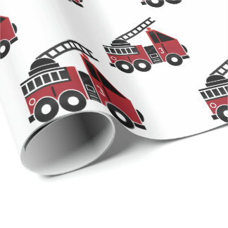 Fire trucks wrapping paper