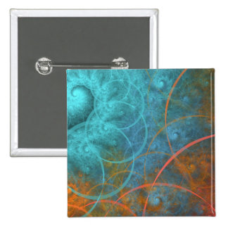 Fire VS Ice Fractal Art Pinback Button