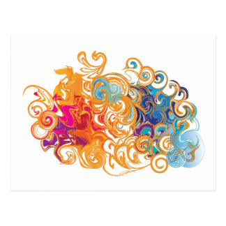Fire &Water Chariot colourful contemporary card Postcard