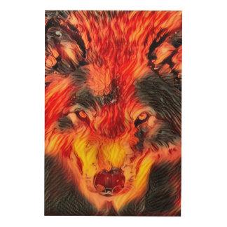 Fire Wolf Djinn Fantasy Wildlife Art Wood Canvases