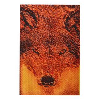Fire Wolf Fractal Art Wood Canvas