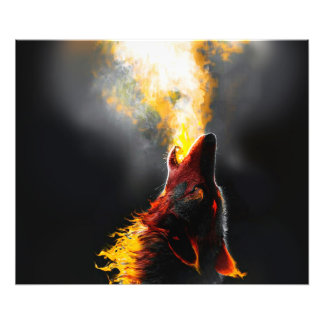 Fire wolf photo print