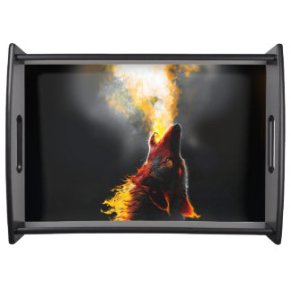 Fire wolf serving tray