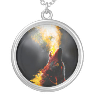 Fire wolf silver plated necklace