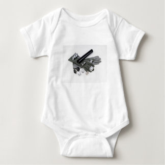 Firearm Suppressor Silencer with Military Gloves Baby Bodysuit