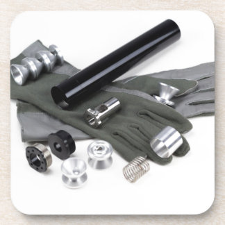 Firearm Suppressor Silencer with Military Gloves Coaster