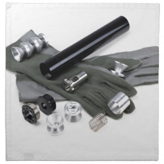 Firearm Suppressor Silencer with Military Gloves Napkin