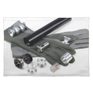 Firearm Suppressor Silencer with Military Gloves Placemat