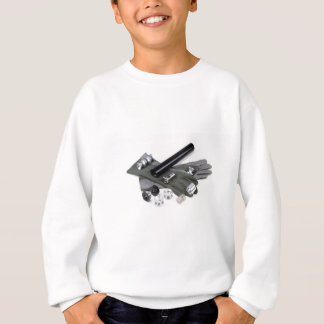 Firearm Suppressor Silencer with Military Gloves Sweatshirt