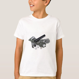Firearm Suppressor Silencer with Military Gloves T-Shirt
