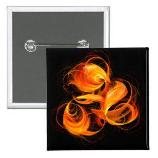 Fireball Abstract Art Button (square)