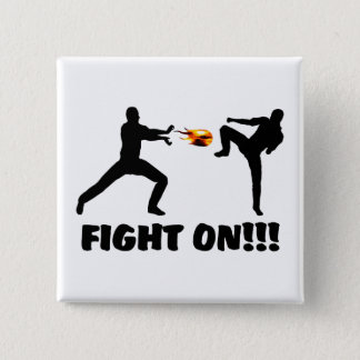 Fireball Gamer Fight On 15 Cm Square Badge
