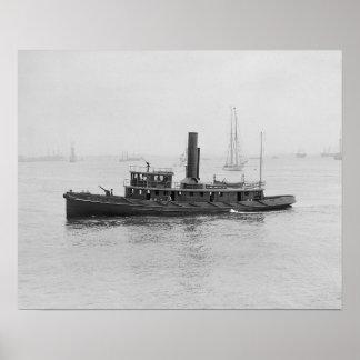 Fireboat in Boston Harbor 1906 Poster